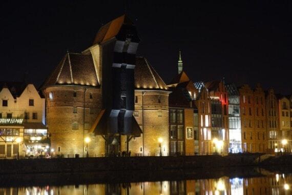 Gdańsk. Żuraw w nocy.
