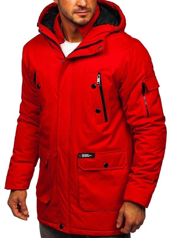 Czerwona kurtka zimowa męska