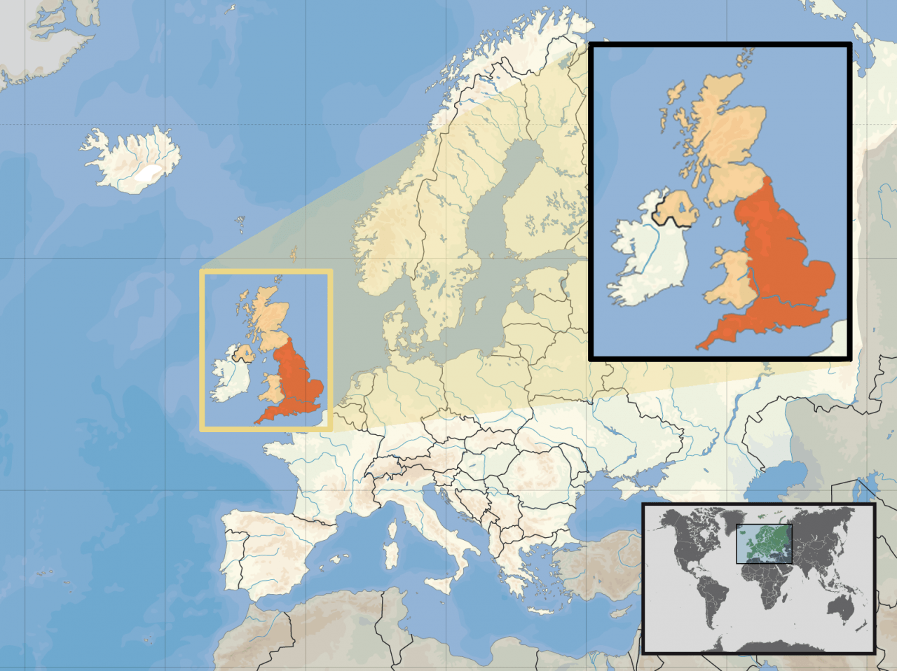 Lokalizacja Anglii na tle Europy