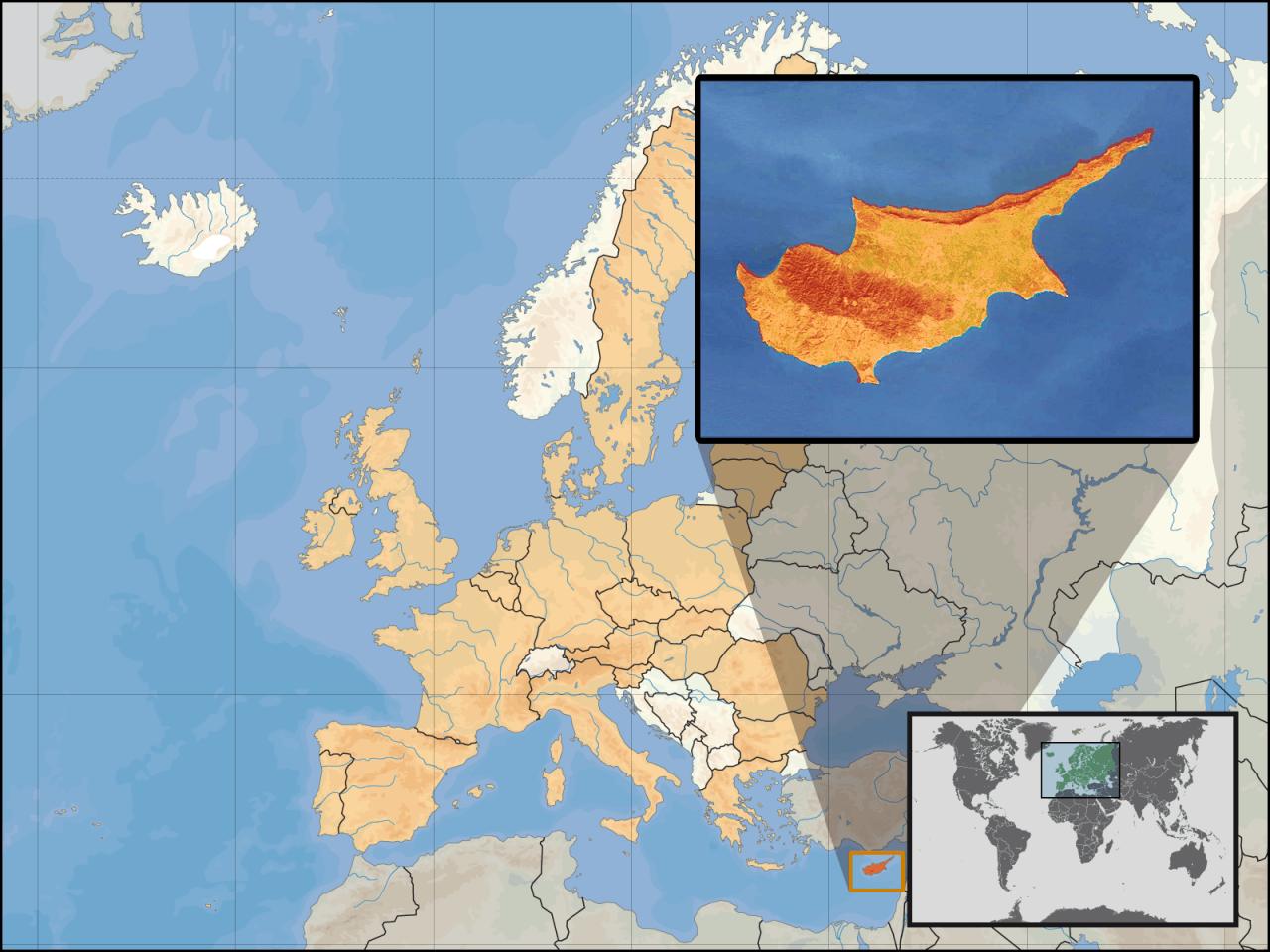 Lokalizacja Cypru na tle Azji