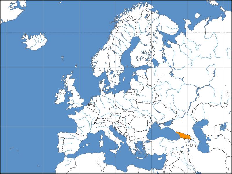 Lokalizacja Gruzji na tle Azji