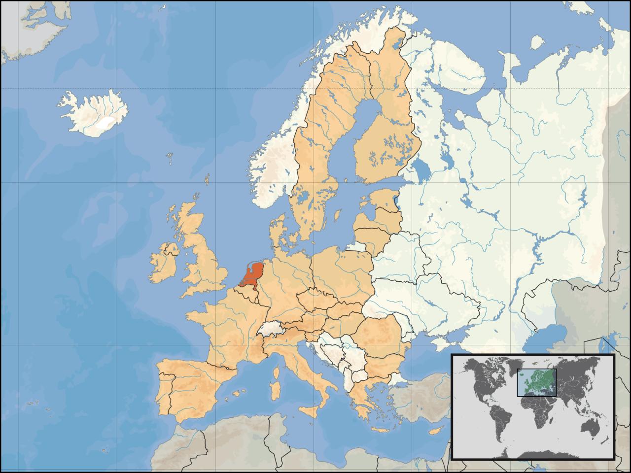 Lokalizacja Holandii na tle Europy