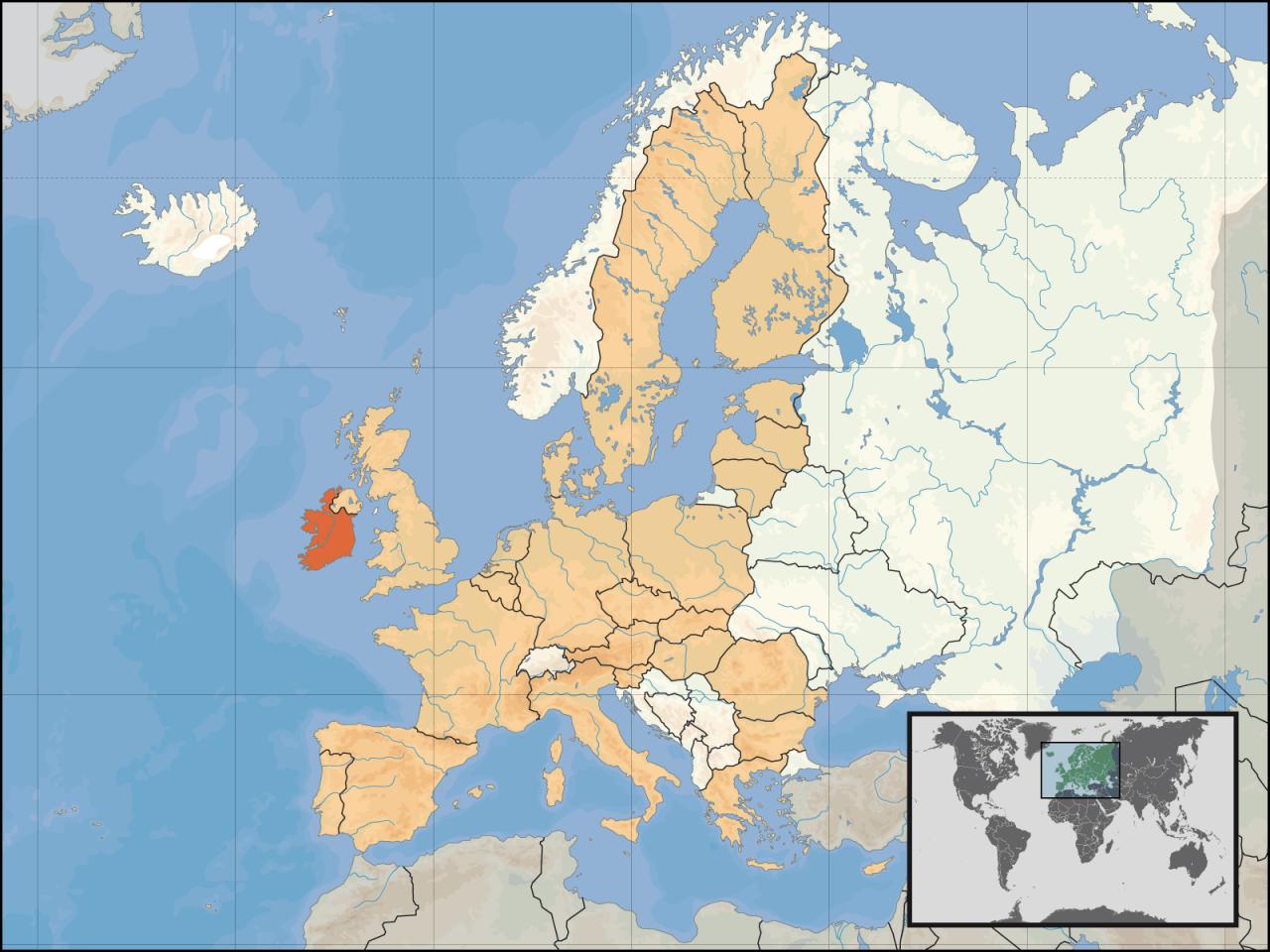 Lokalizacja Irlandii na tle Europy