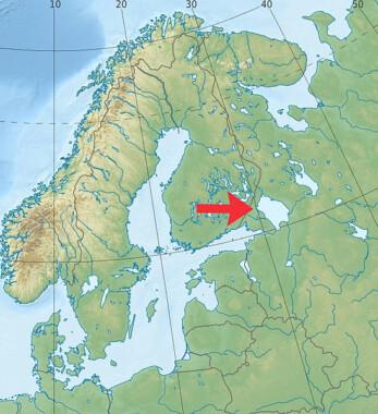 Lokalizacja jeziora Ładoga na mapie Europy Północno-Wschodniej
