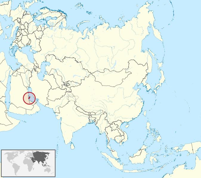 Lokalizacja Kataru na tle Azji