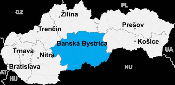 Lokalizacja kraju bańskobystrzyckiego na mapie Słowacji