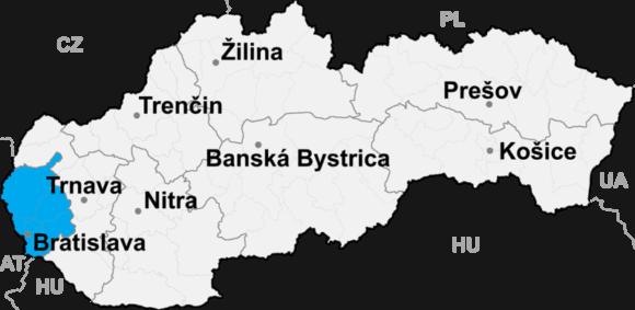 Lokalizacja kraju bratysławskiego na mapie Słowacji
