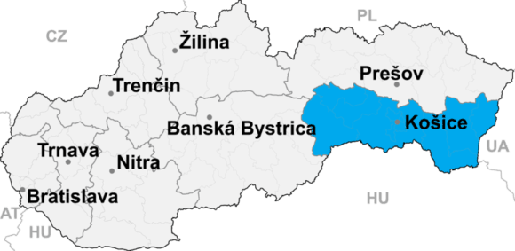 Lokalizacja kraju koszyckiego na mapie Słowacji