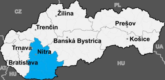 Lokalizacja kraju nitrzańskiego na mapie Słowacji