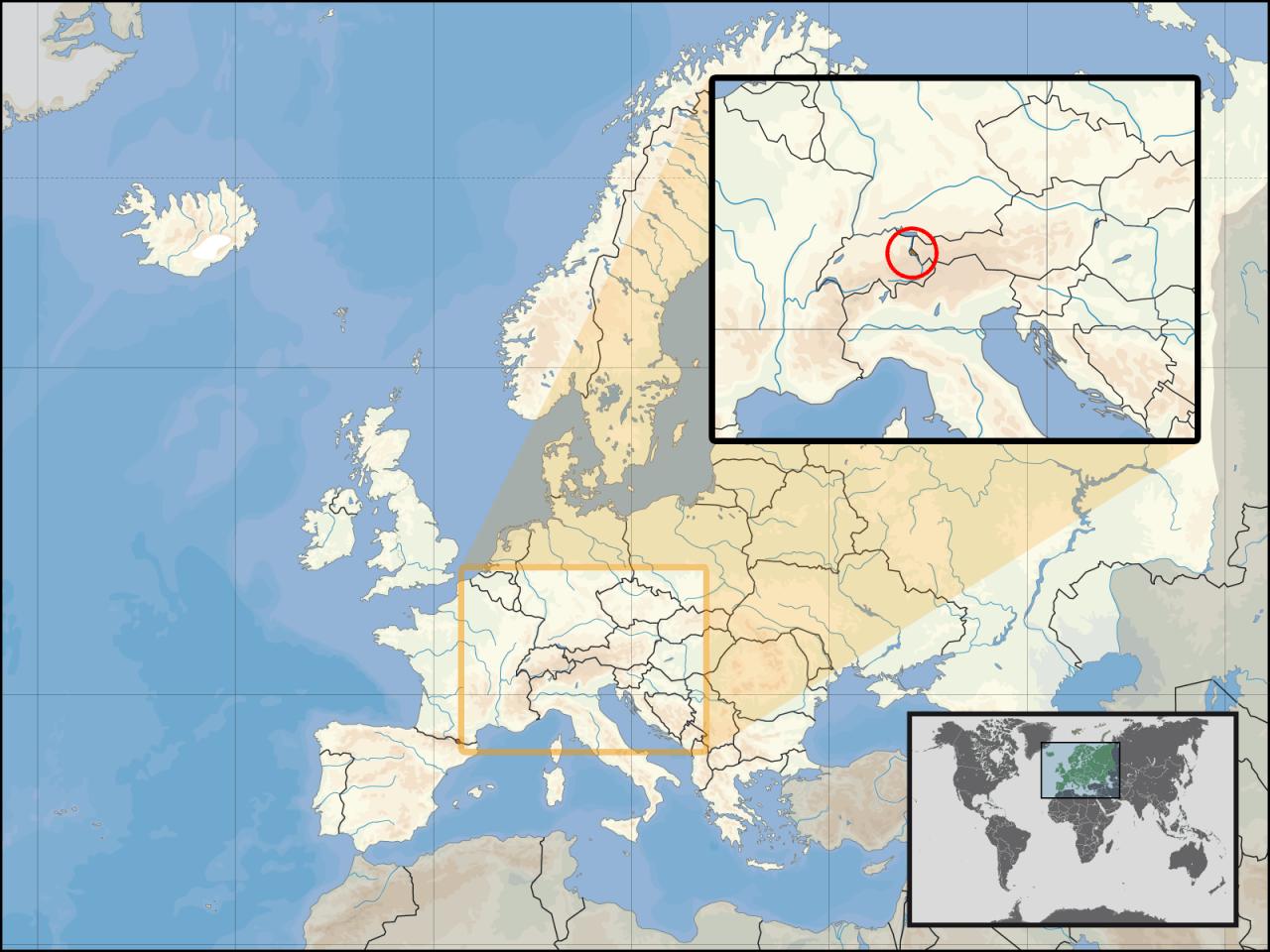 Lokalizacja Liechtensteinu na tle Europy