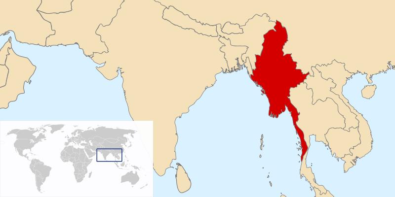 Lokalizacja Mjanmy