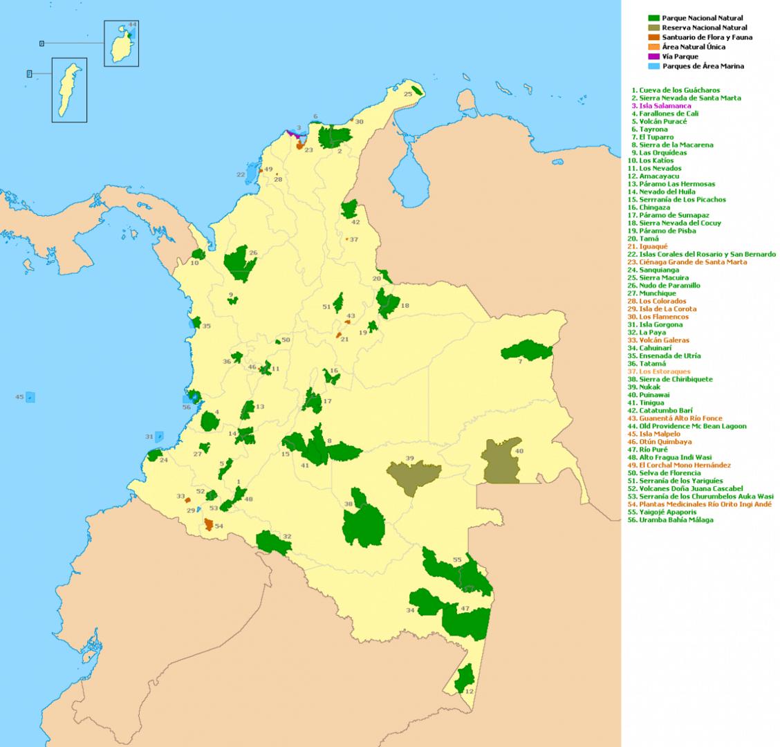 Lokalizacja Parków Narodowych Kolumbii