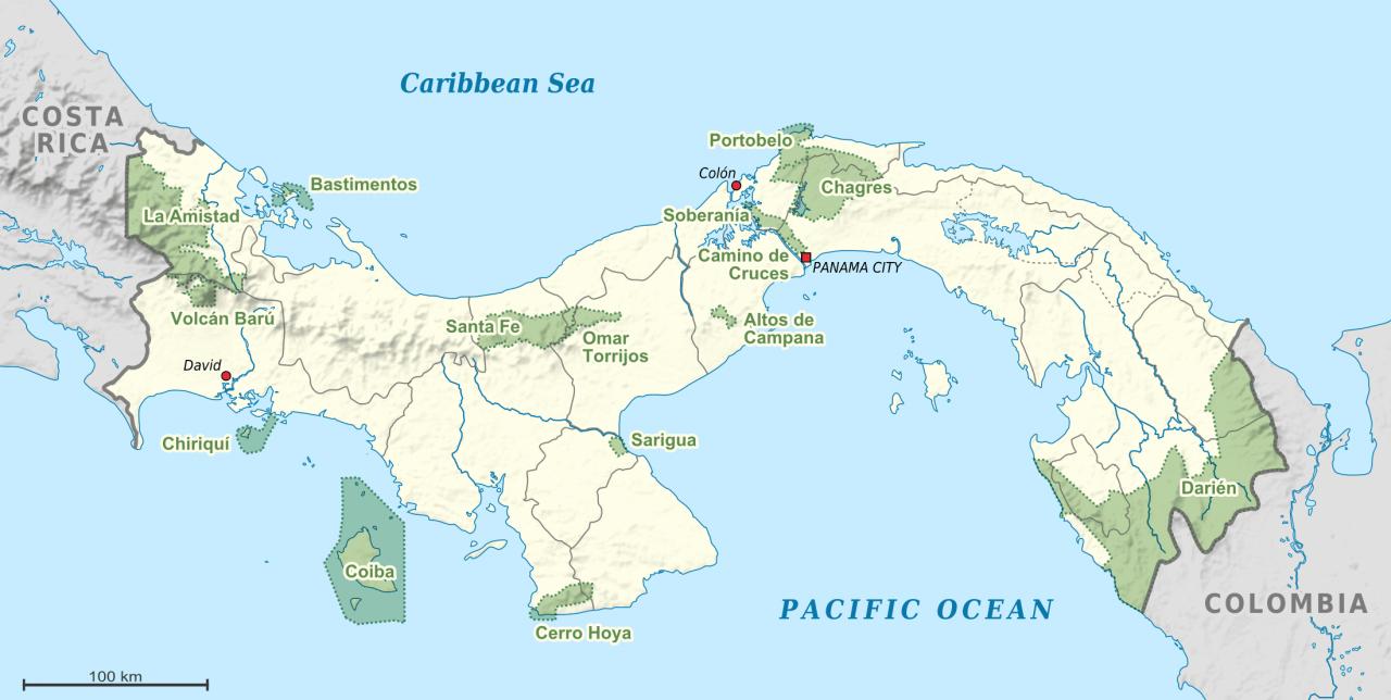 Lokalizacja Parków Narodowych Panamy