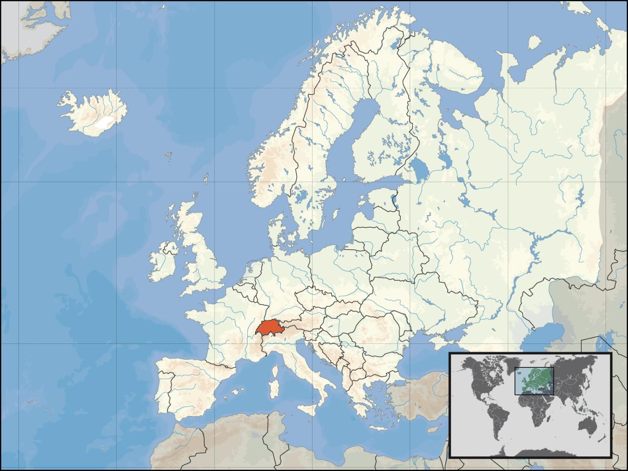Lokalizacja Szwajcarii na tle Europy