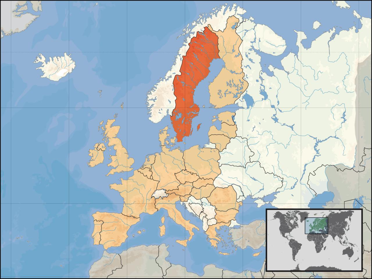 Lokalizacja Szwecji na tle Europy