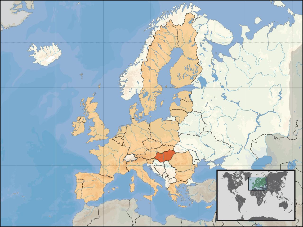 Lokalizacja Węgier na tle Europy