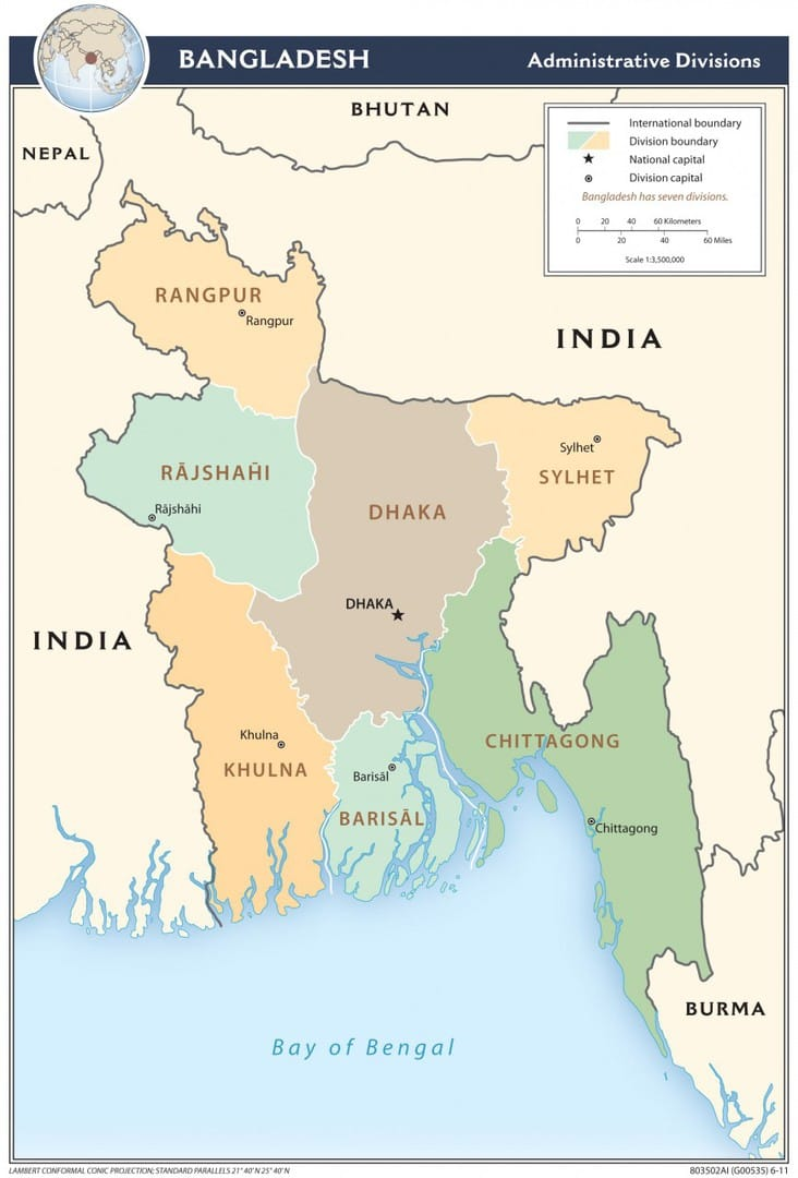 Mapa administracyjna Bangladeszu