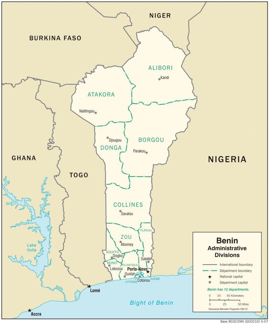Mapa administracyjna Beninu