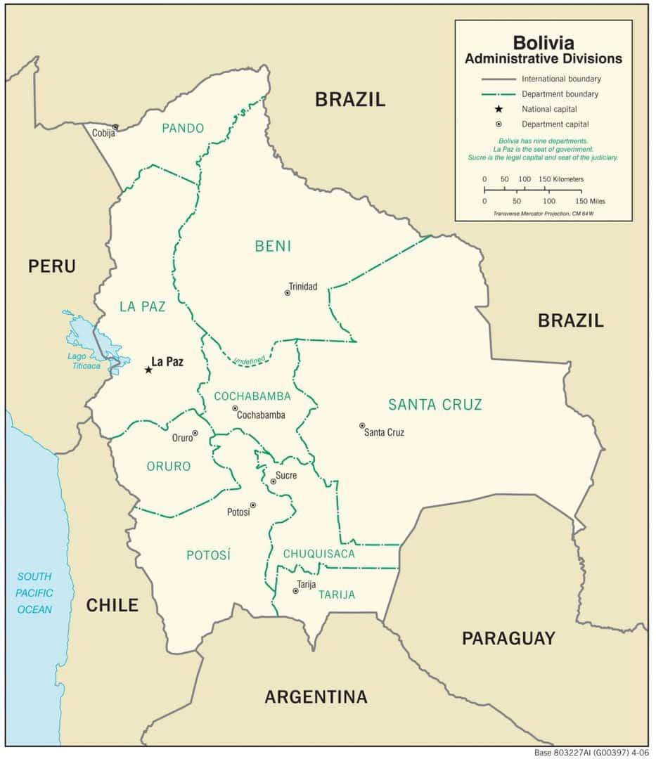 Mapa administracyjna Boliwii