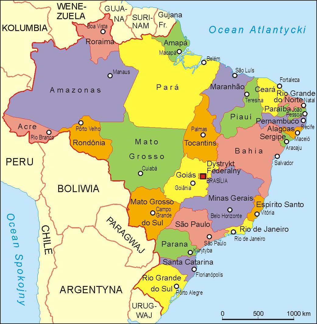Mapa administracyjna Brazylii