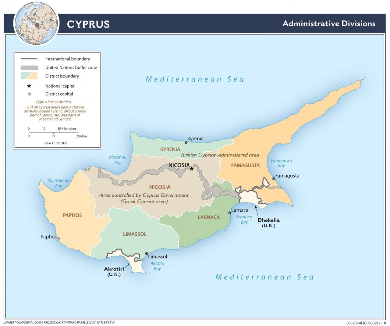 Mapa administracyjna Cypru