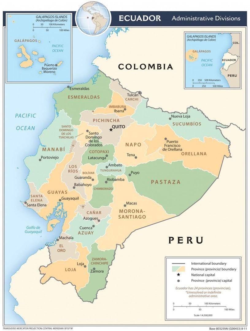 Mapa administracyjna Ekwadoru