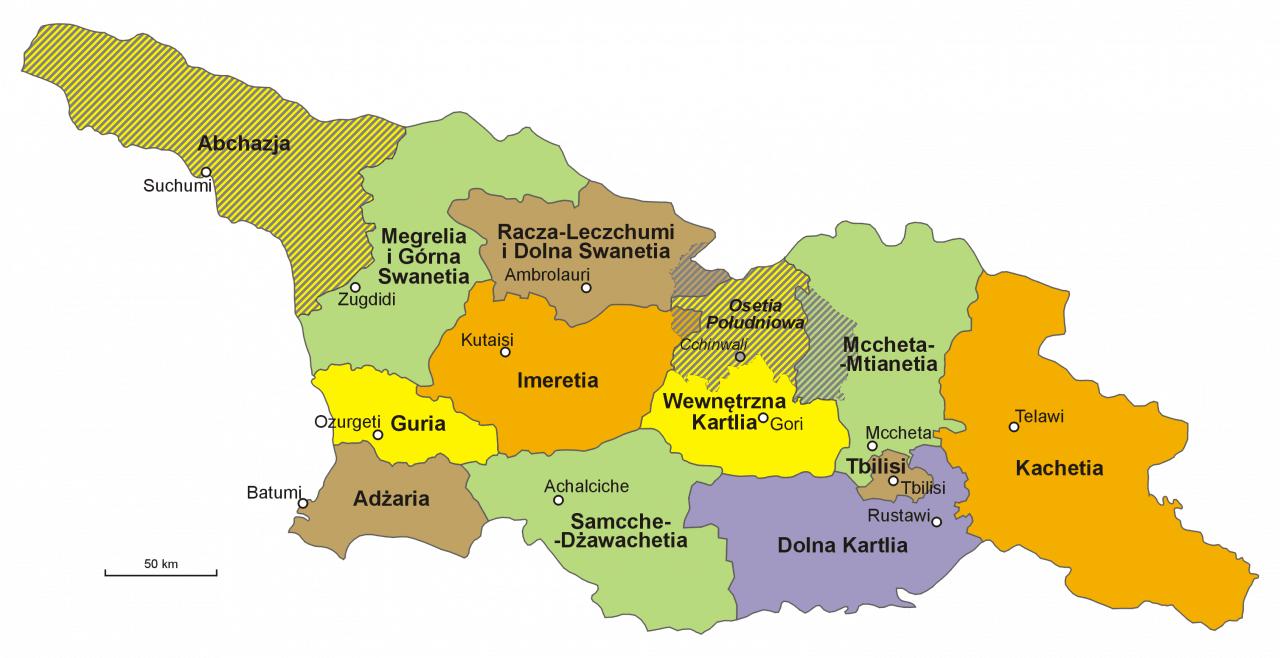Mapa administracyjna Gruzji