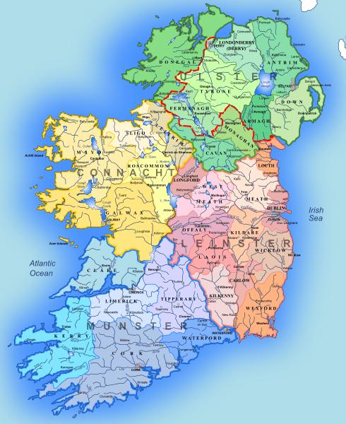 Mapa administracyjna Irlandii