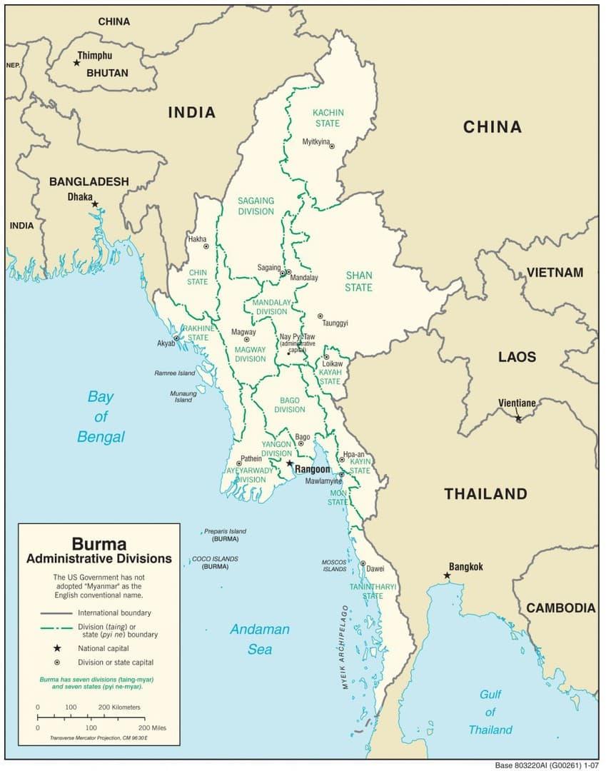 Mapa administracyjna Mjanmy