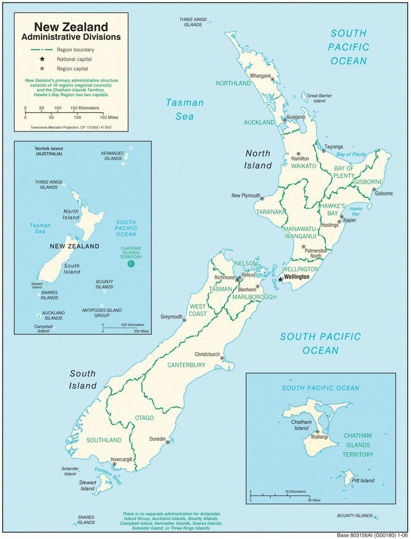 Mapa administracyjna Nowej Zelandii
