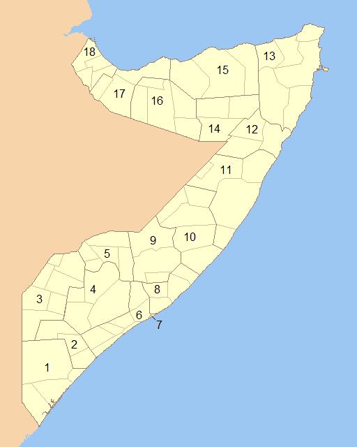 Mapa administracyjna Somalii