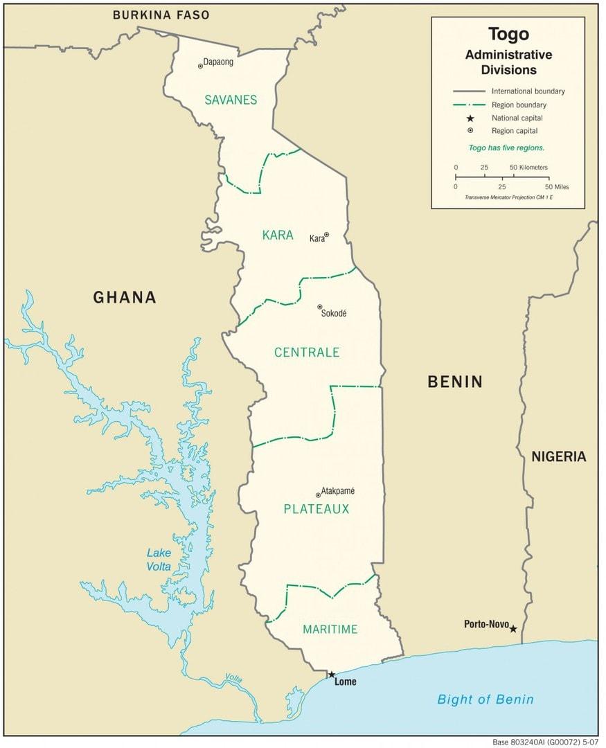 Mapa administracyjna Togo