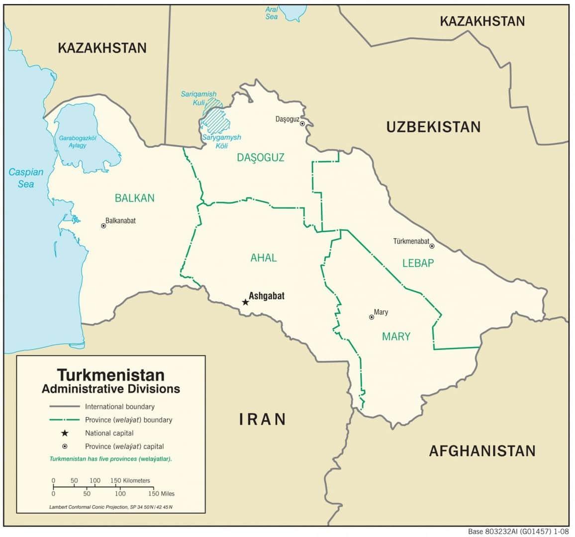 Mapa administracyjna Turkmenistanu