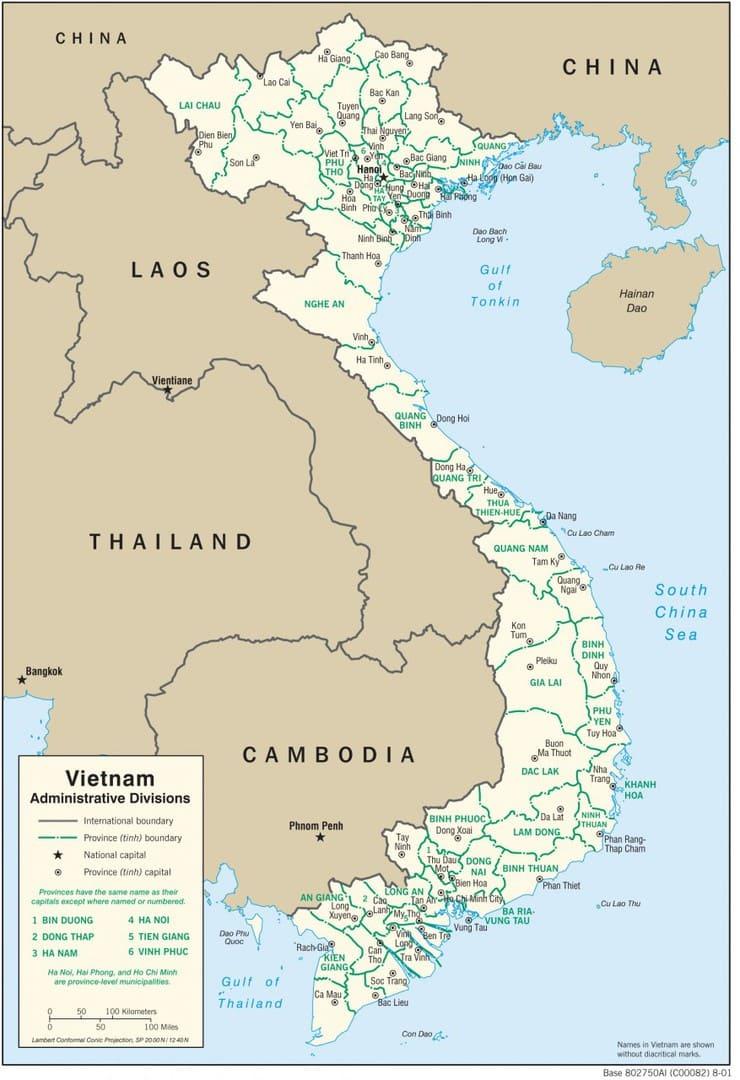 Mapa administracyjna Wietnamu