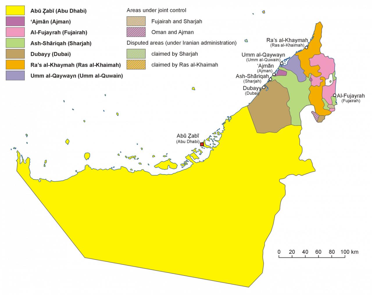 Mapa administracyjna Zjednoczonych Emiratów Arabskich