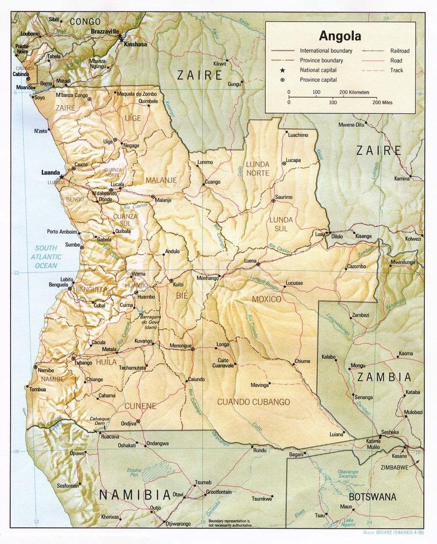 Mapa Angoli
