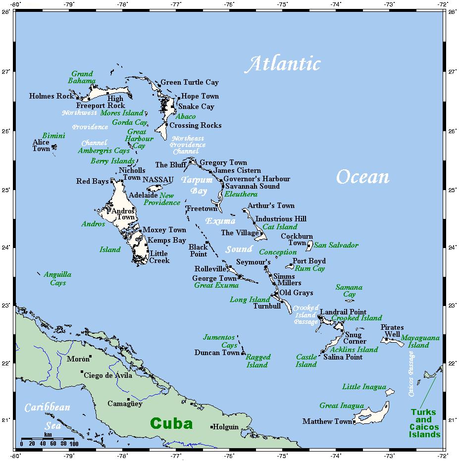 Mapa Bahamów