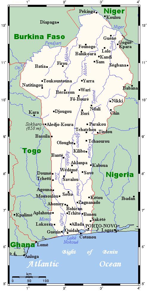 Mapa Beninu