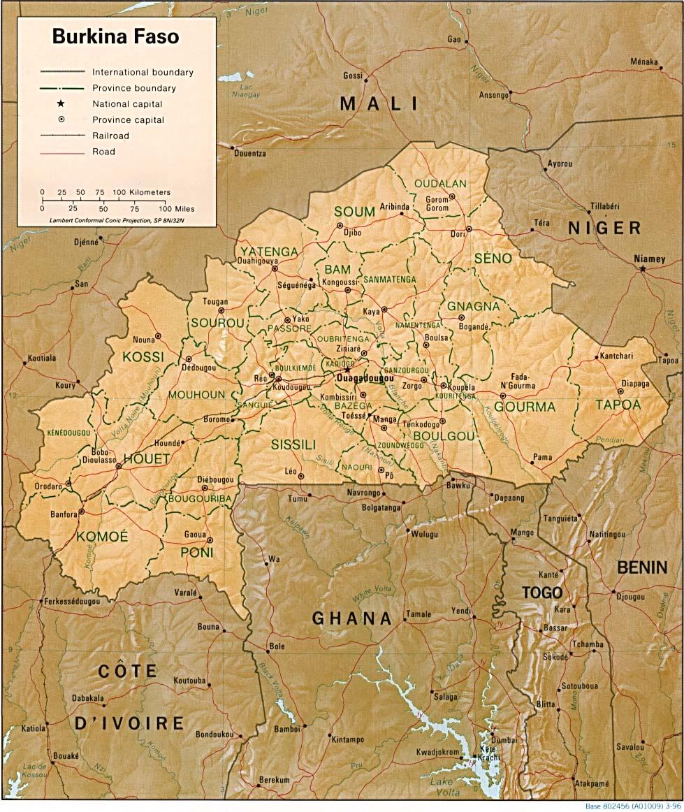 Mapa polityczna Burkina Faso