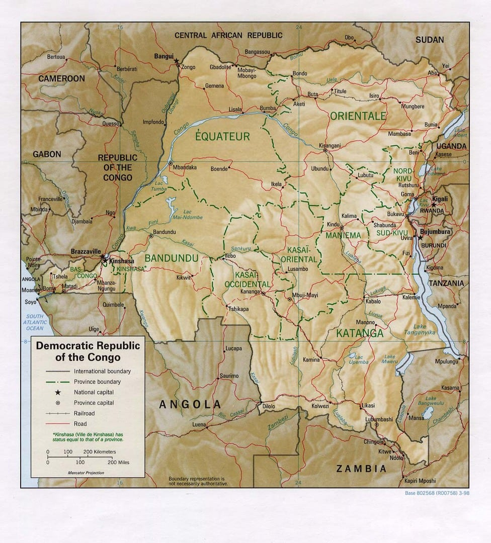 Mapa Demokratycznej Republiki Konga