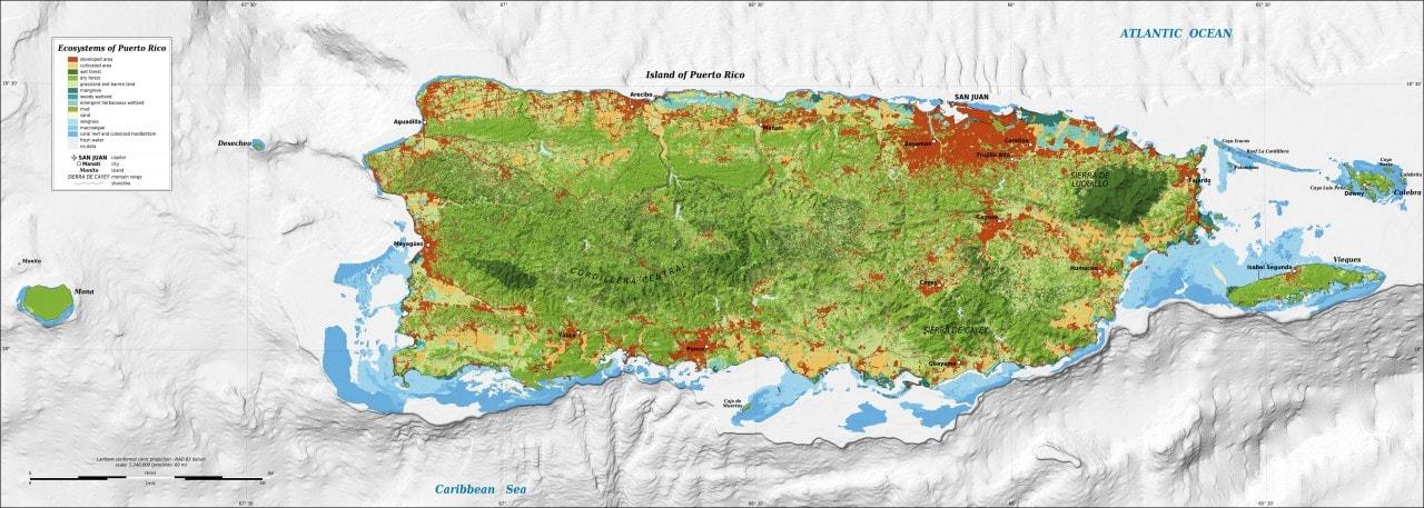 Mapa ekosystemu Portoryko