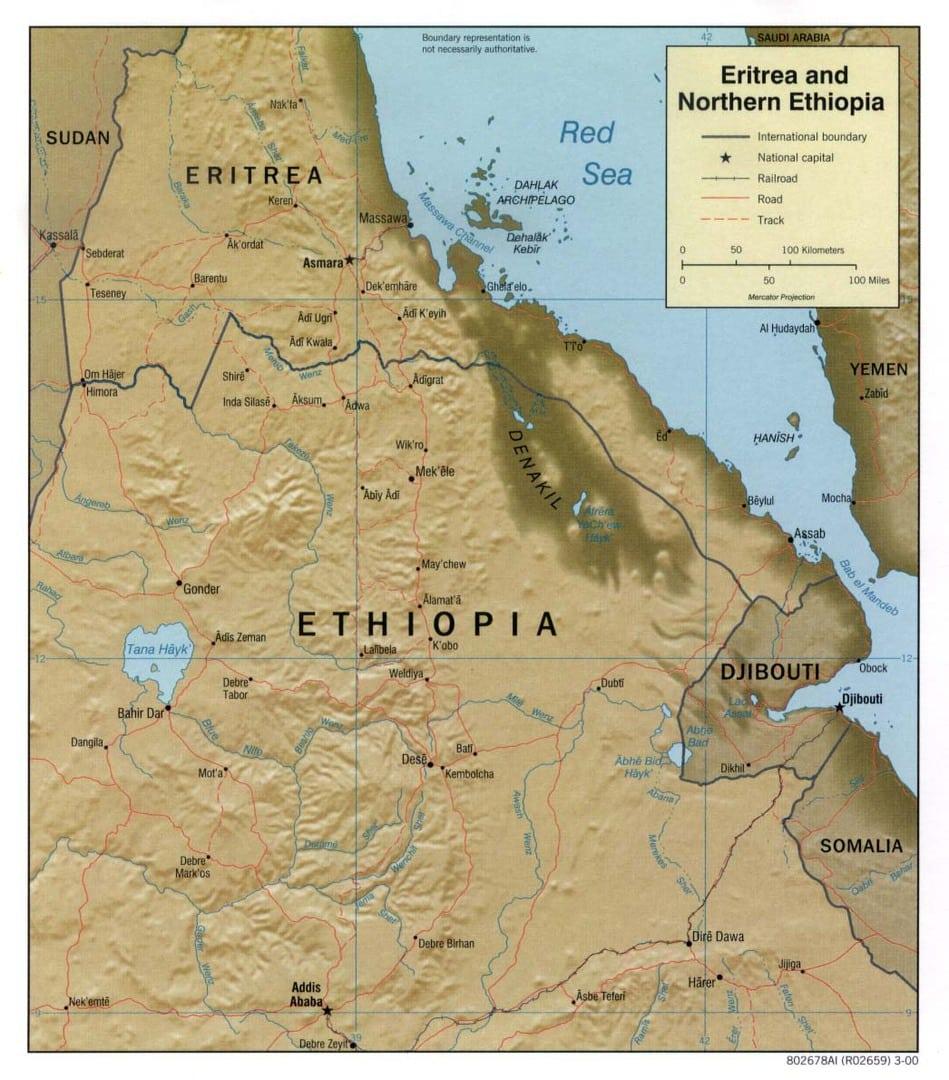 Mapa Erytrei