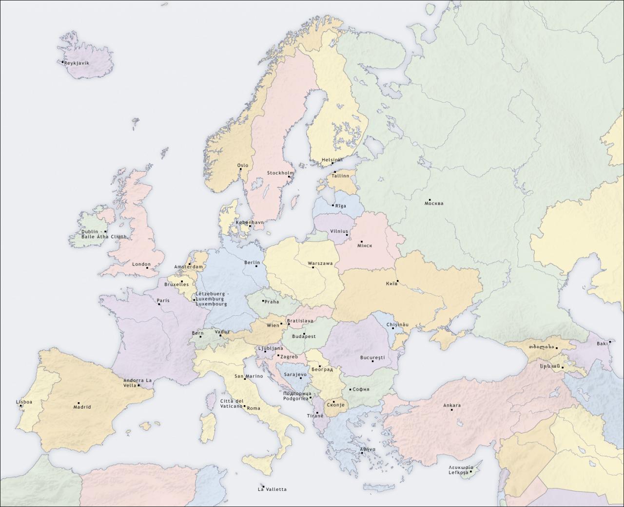 Mapa Europy ze stolicami państw