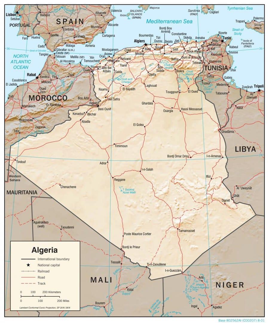 Mapa fizyczna Algierii