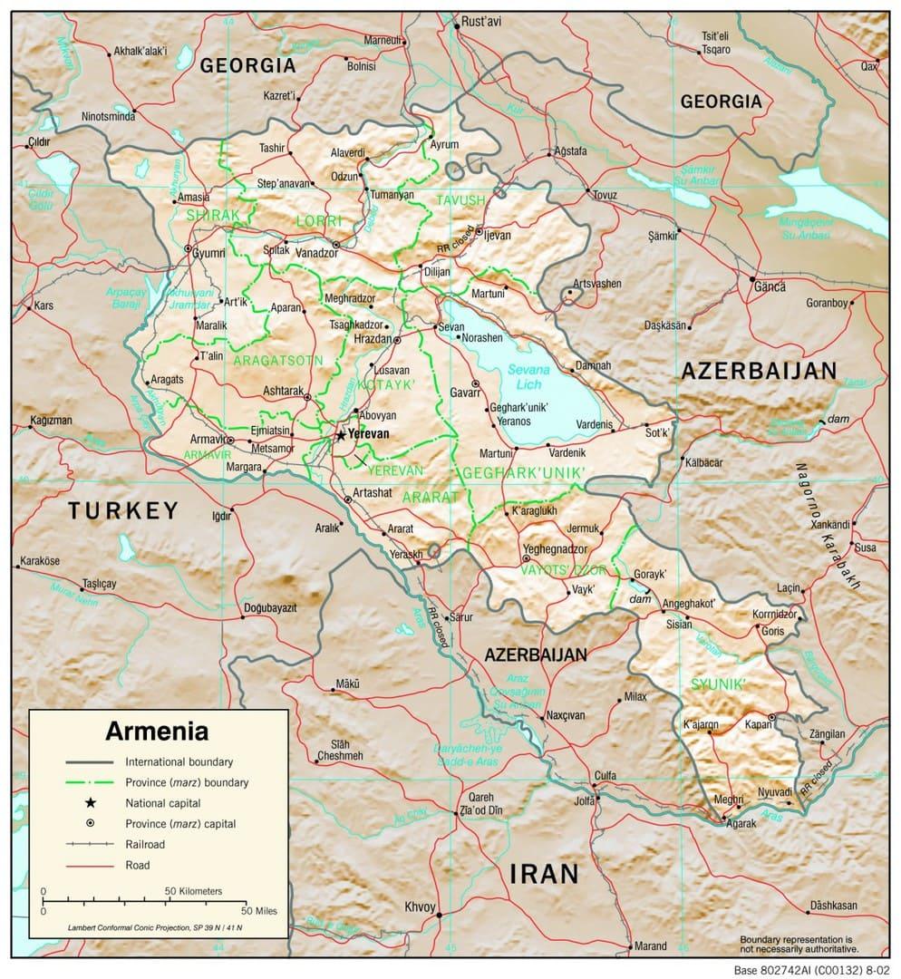 Mapa fizyczna Armenii