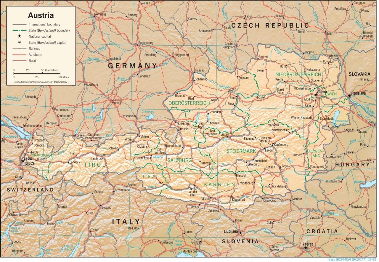 Mapa fizyczna Austrii