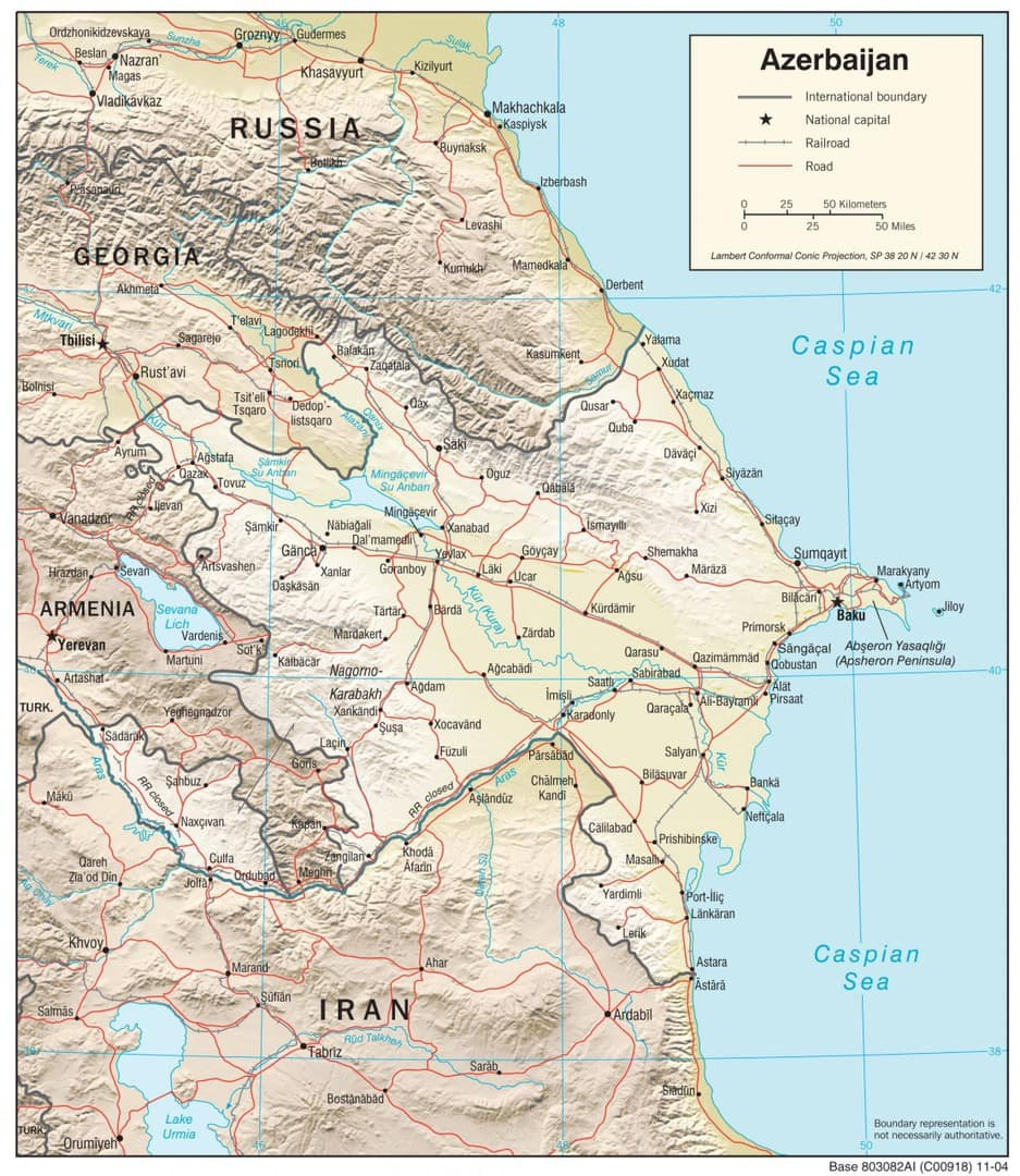 Mapa fizyczna Azerbejdżanu