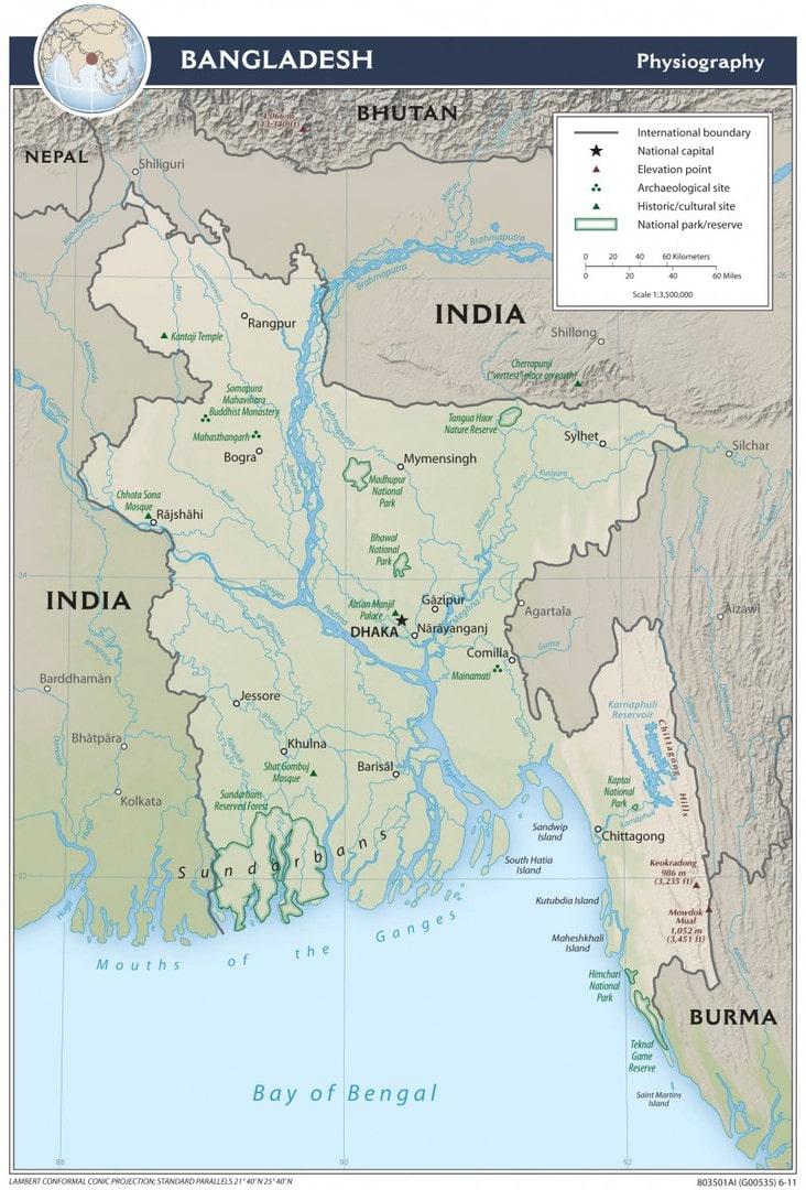 Mapa fizyczna Bangladeszu