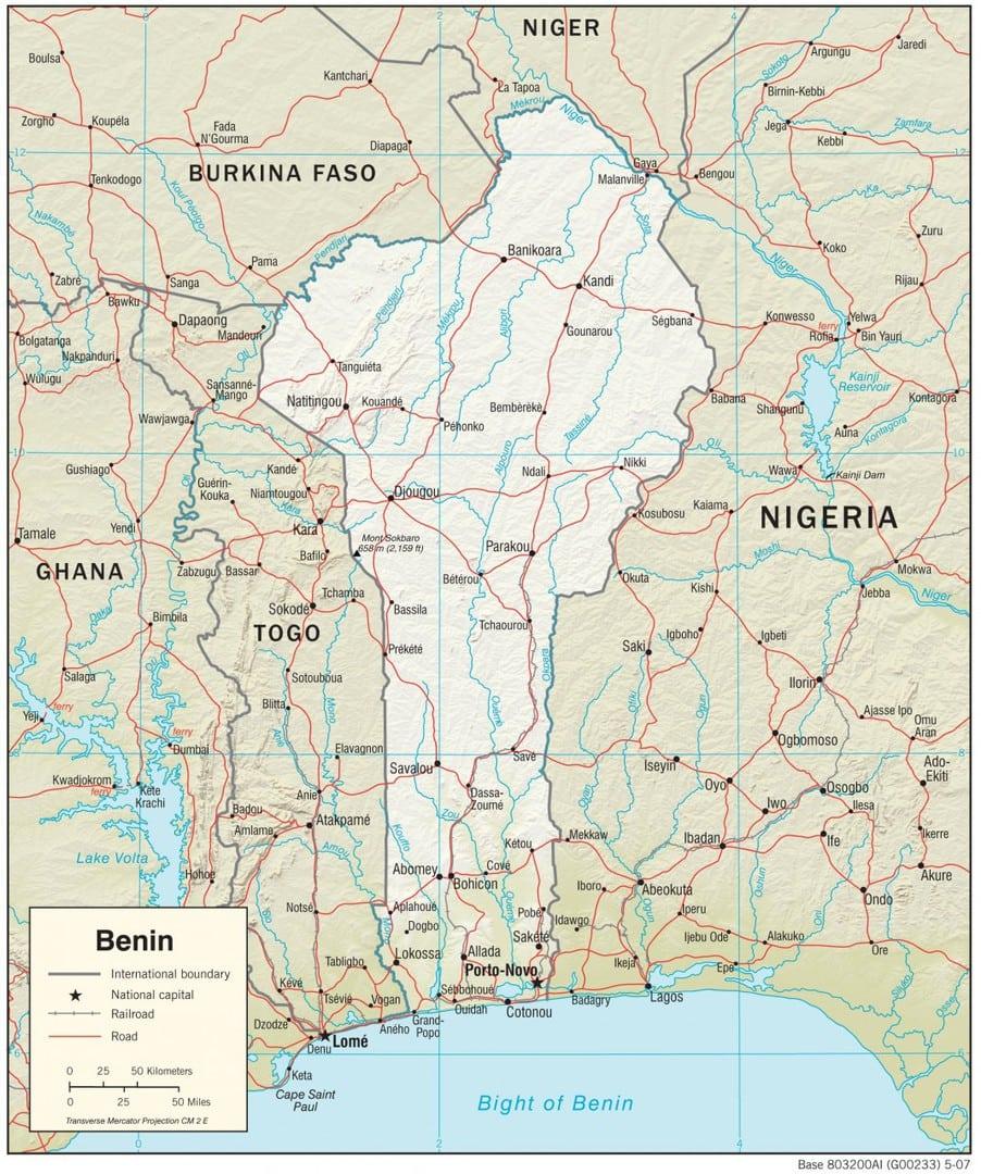 Mapa fizyczna Beninu