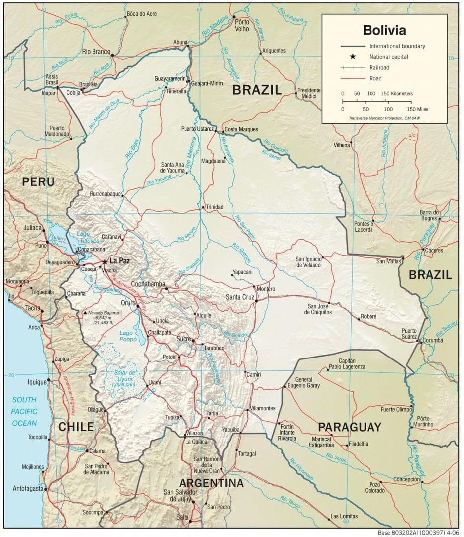Mapa fizyczna Boliwii